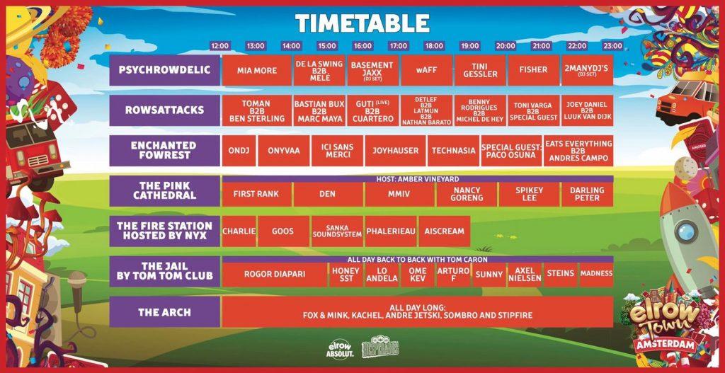 Elrow town timetable